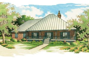 Southern Exterior - Front Elevation Plan #45-125