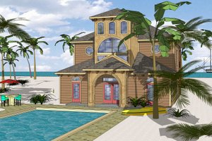 Beach Exterior - Front Elevation Plan #8-310