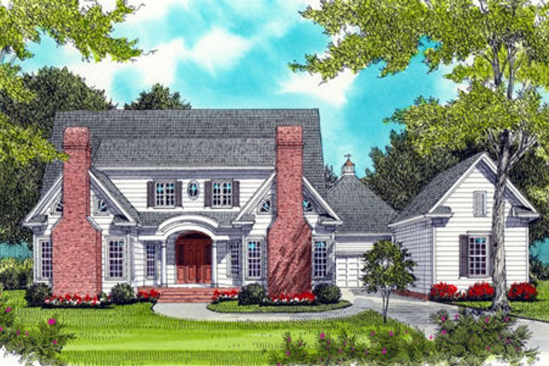 Architectural House Design - Colonial Exterior - Front Elevation Plan #413-826