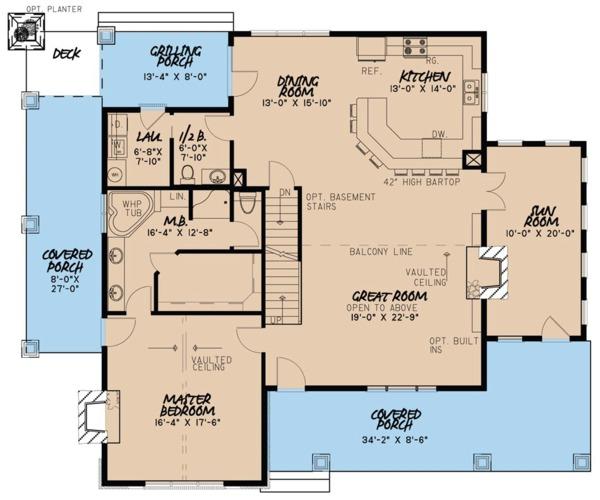 Dream House Plan - Cottage Floor Plan - Main Floor Plan #923-68