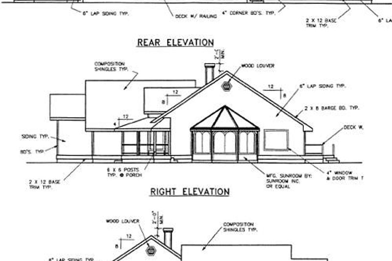 Country Exterior - Rear Elevation Plan #60-402 - Houseplans.com