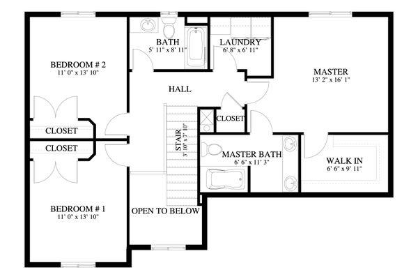 Traditional Floor Plan - Upper Floor Plan #1060-68