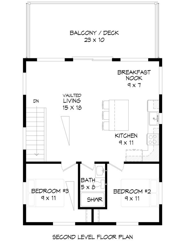 Contemporary Floor Plan - Upper Floor Plan Plan #932-47