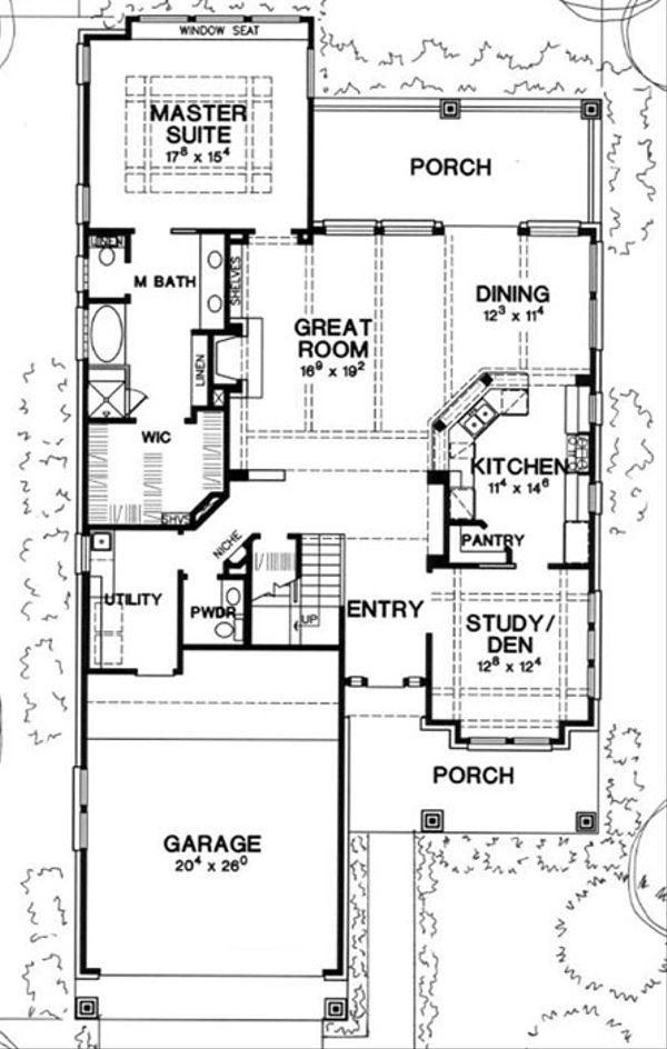 Mediterranean Floor Plan - Main Floor Plan Plan #472-14