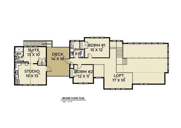 Contemporary Floor Plan - Upper Floor Plan #1070-84