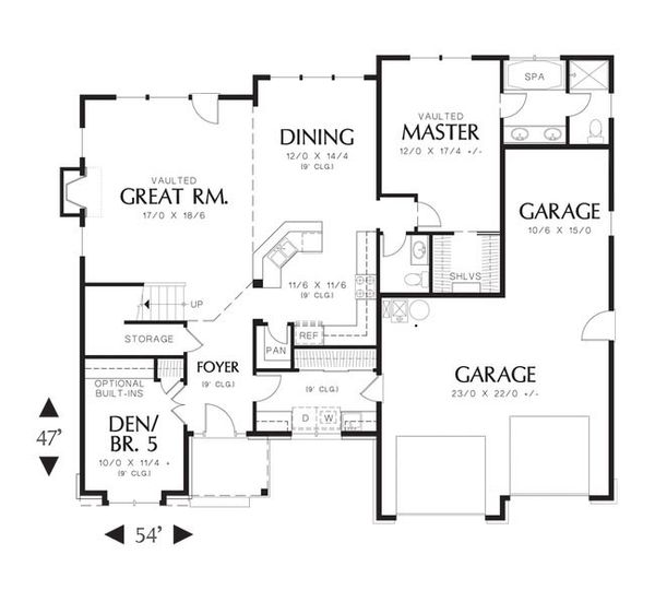 European Floor Plan - Main Floor Plan Plan #48-535