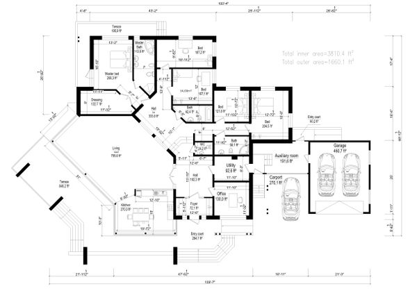 Modern Style House Plan - 5 Beds 3 Baths 5470 Sq/Ft Plan #549-17 Floor Plan - Main Floor Plan