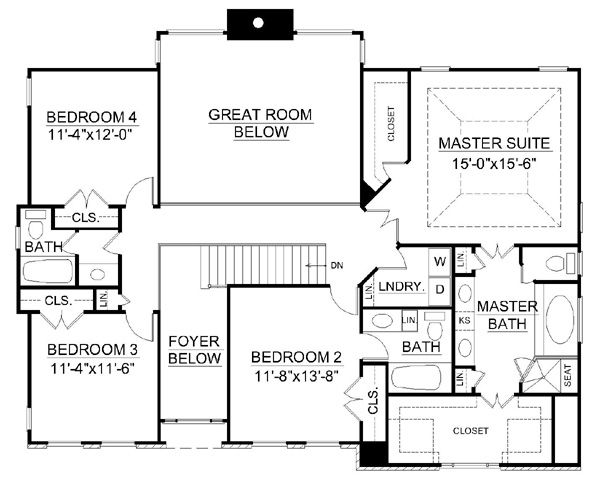 Colonial Floor Plan - Upper Floor Plan Plan #119-260
