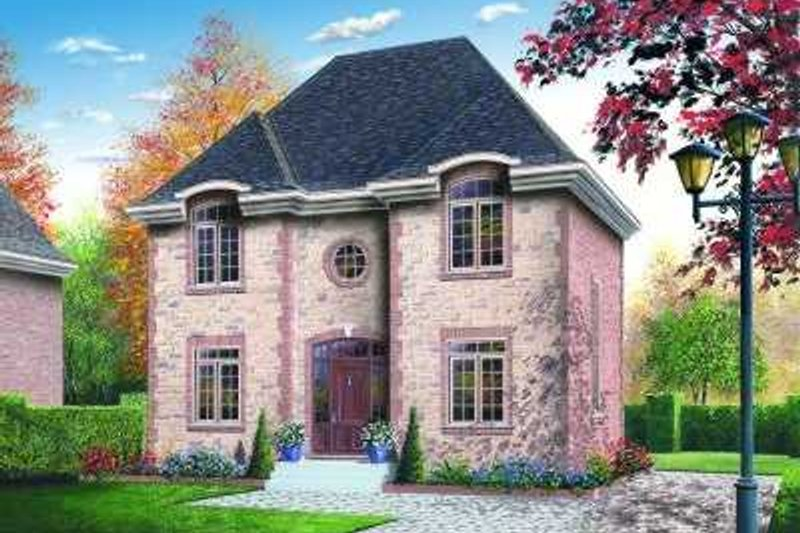 European Style House Plan - 3 Beds 2 Baths 1650 Sq/Ft Plan #23-341 Exterior - Front Elevation