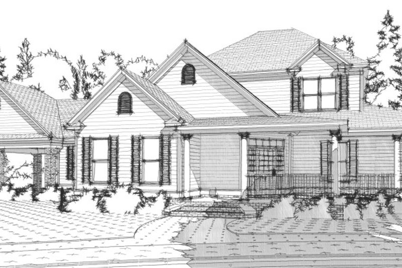 Farmhouse Style House Plan - 4 Beds 2 Baths 2766 Sq/Ft Plan #63-362 Exterior - Front Elevation