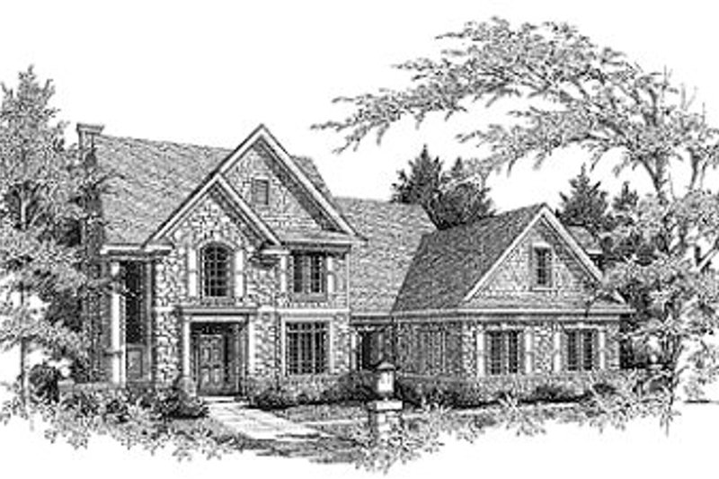 Traditional Style House Plan - 3 Beds 2.5 Baths 2773 Sq/Ft Plan #70-440 Exterior - Front Elevation