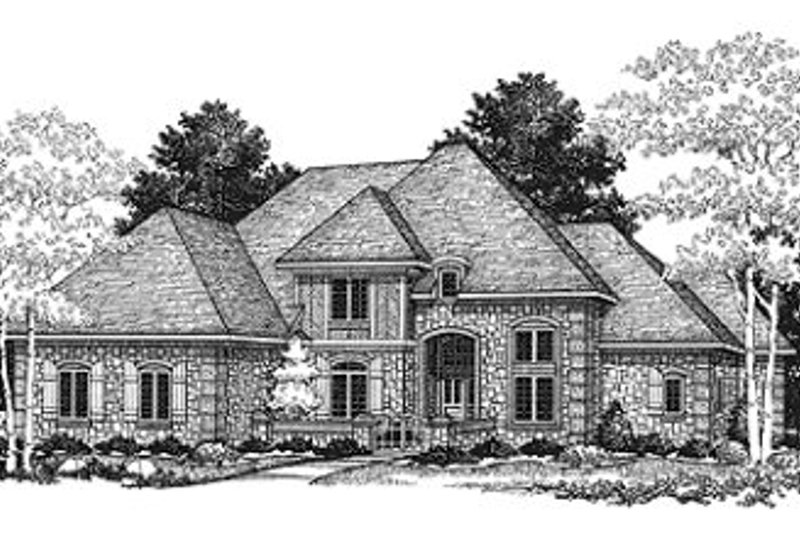 European Style House Plan - 4 Beds 3.5 Baths 3487 Sq/Ft Plan #70-523 Exterior - Front Elevation