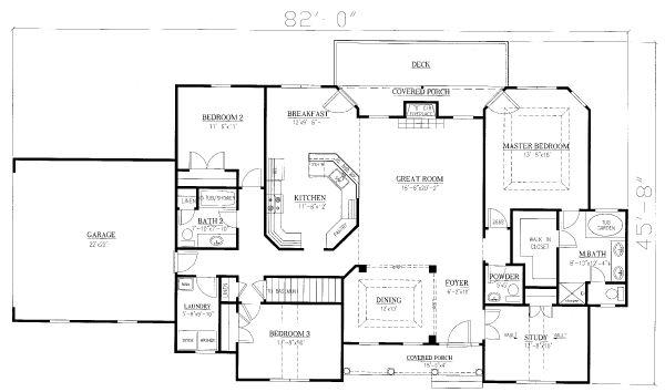 Traditional Floor Plan - Main Floor Plan Plan #437-110