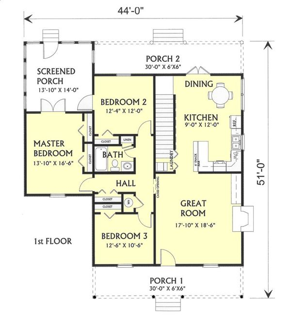 Farmhouse Floor Plan - Main Floor Plan Plan #44-119