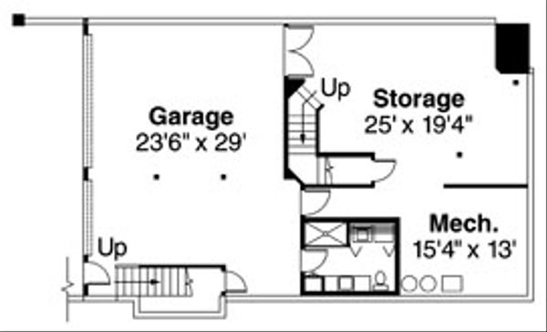 Craftsman Floor Plan - Lower Floor Plan Plan #124-516