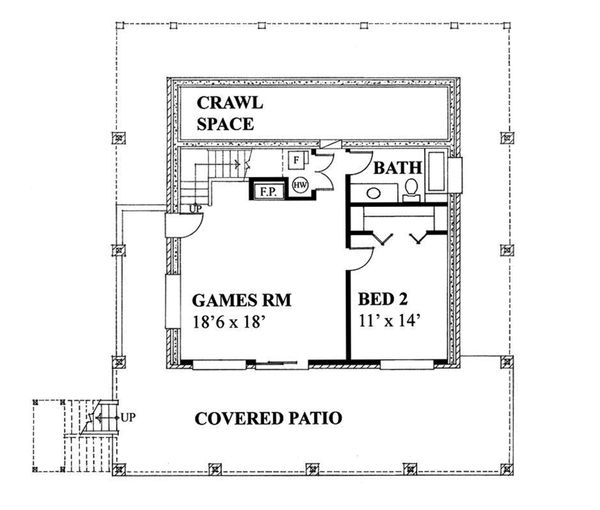 Cottage Floor Plan - Lower Floor Plan Plan #118-172