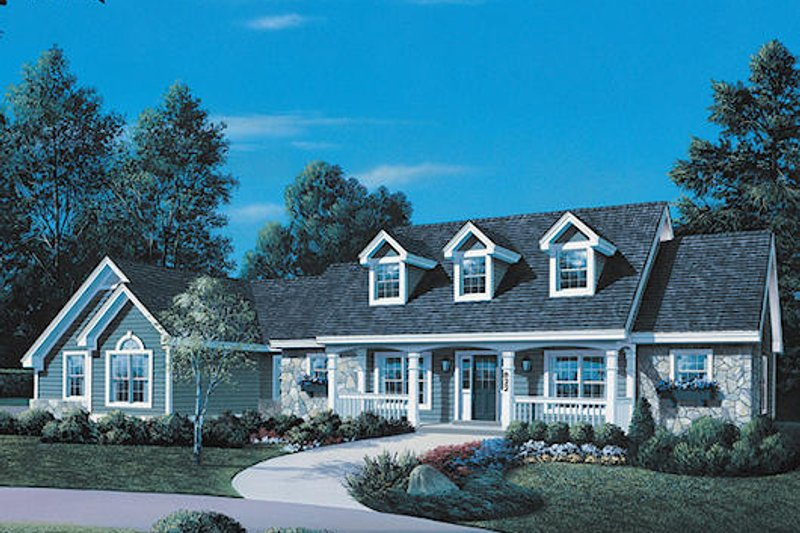 Country Style House Plan - 3 Beds 3.5 Baths 1991 Sq/Ft Plan #57-323 Exterior - Front Elevation