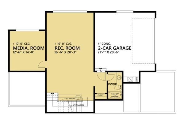 Contemporary Floor Plan - Lower Floor Plan Plan #1066-44
