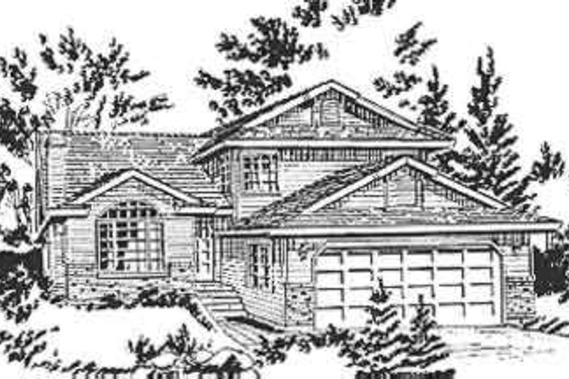 European Style House Plan - 3 Beds 2.5 Baths 1921 Sq/Ft Plan #18-233 Exterior - Front Elevation