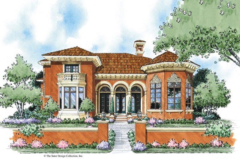 Mediterranean Style House Plan - 3 Beds 2.5 Baths 2732 Sq/Ft Plan #930-279 Exterior - Front Elevation