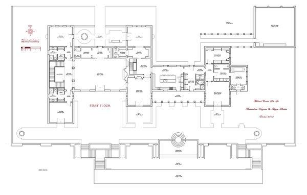 Main level floor plan - 16000 square foot Mediterranean Home