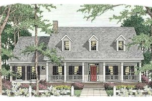 Southern Exterior - Front Elevation Plan #406-264