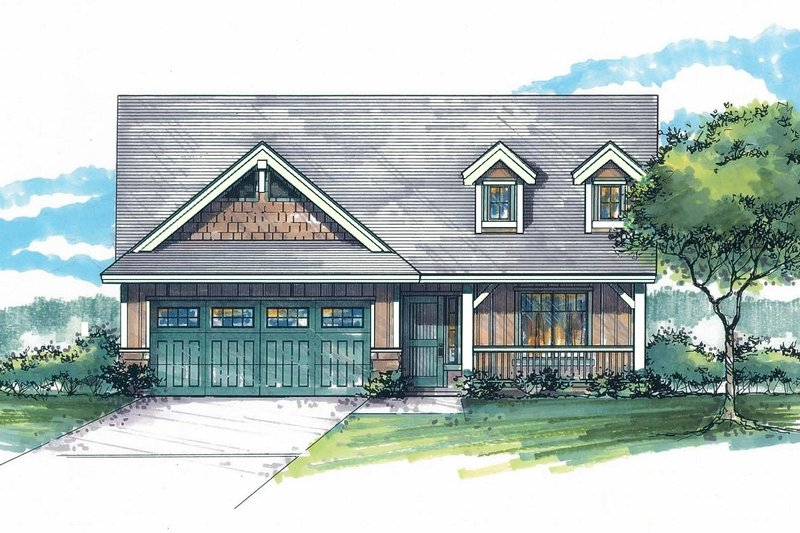 Craftsman Style House Plan - 3 Beds 2 Baths 1319 Sq/Ft Plan #53-593 Exterior - Front Elevation