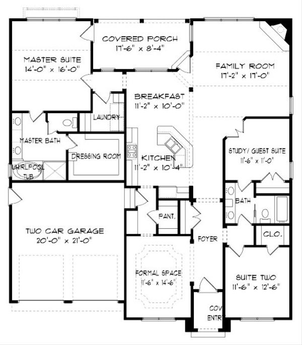 Tudor Floor Plan - Main Floor Plan Plan #413-867
