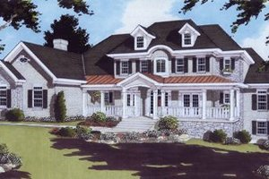 Colonial Exterior - Front Elevation Plan #46-104