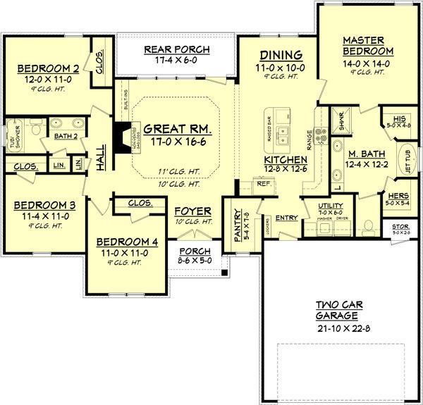 Traditional Floor Plan - Main Floor Plan Plan #430-93