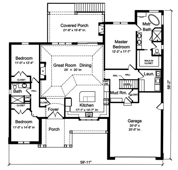 Ranch Floor Plan - Main Floor Plan Plan #46-888