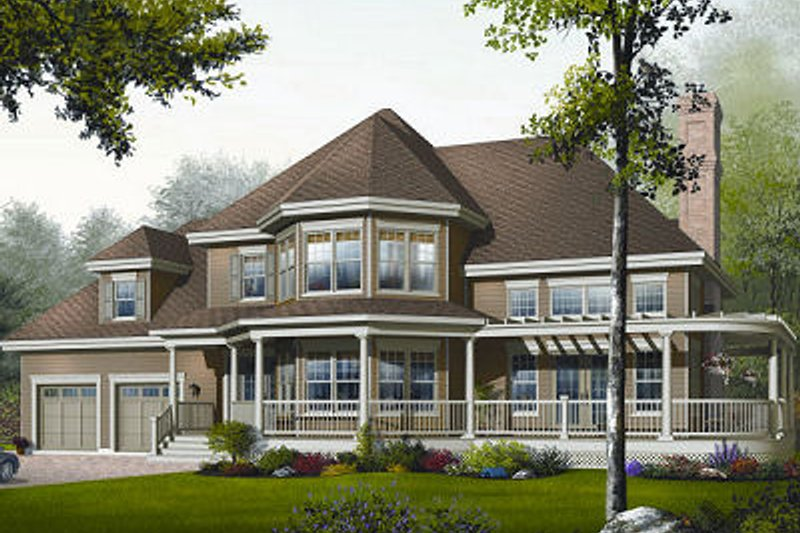 Traditional Style House Plan - 3 Beds 2.5 Baths 2659 Sq/Ft Plan #23-808 Exterior - Front Elevation