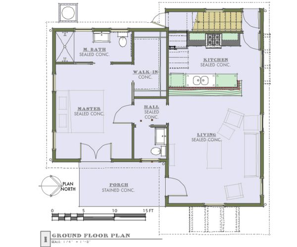 Cottage Floor Plan - Main Floor Plan #450-1