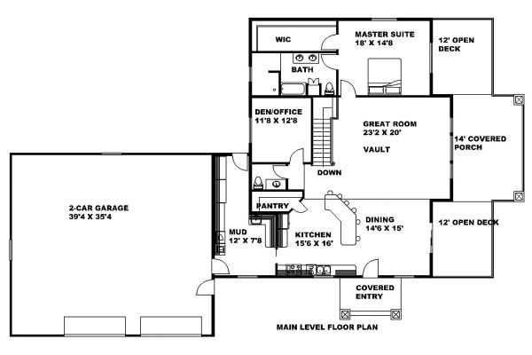 Craftsman Floor Plan - Main Floor Plan Plan #117-883