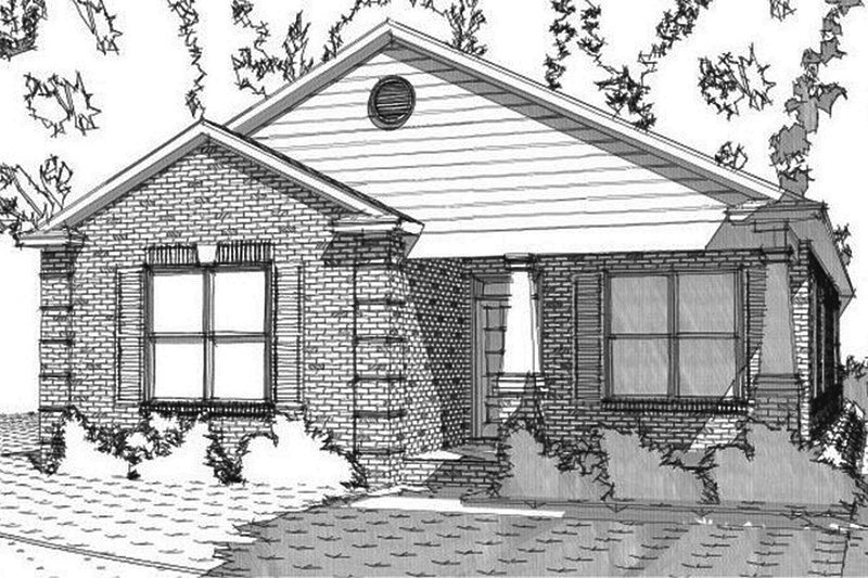 Craftsman Style House Plan - 3 Beds 2 Baths 1558 Sq/Ft Plan #63-386 Exterior - Front Elevation