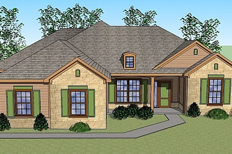 European Style House Plan - 3 Beds 2 Baths 1908 Sq/Ft Plan #459-1 Exterior - Front Elevation