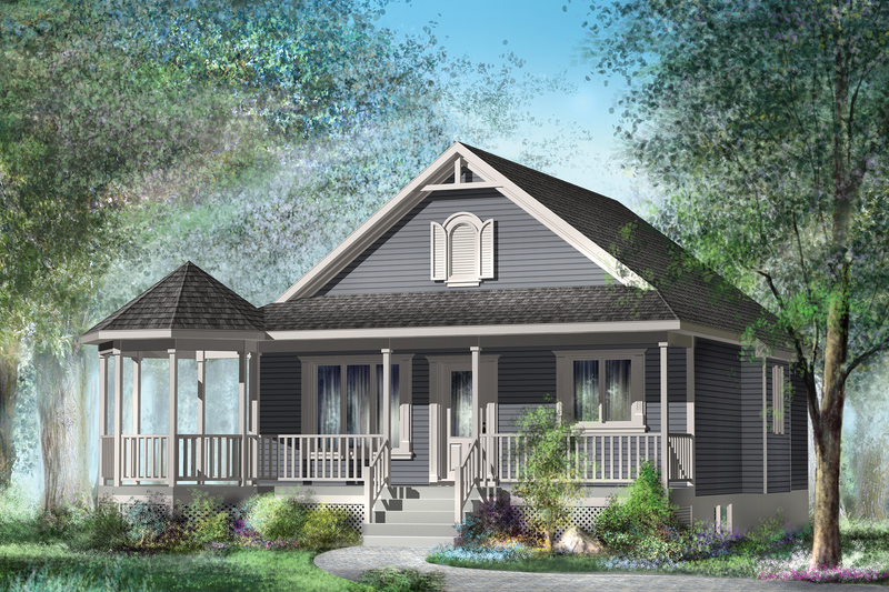 Country Style House Plan - 2 Beds 1 Baths 794 Sq/Ft Plan #25-4388 Exterior - Front Elevation