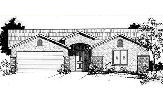 Adobe / Southwestern Exterior - Front Elevation Plan #24-211