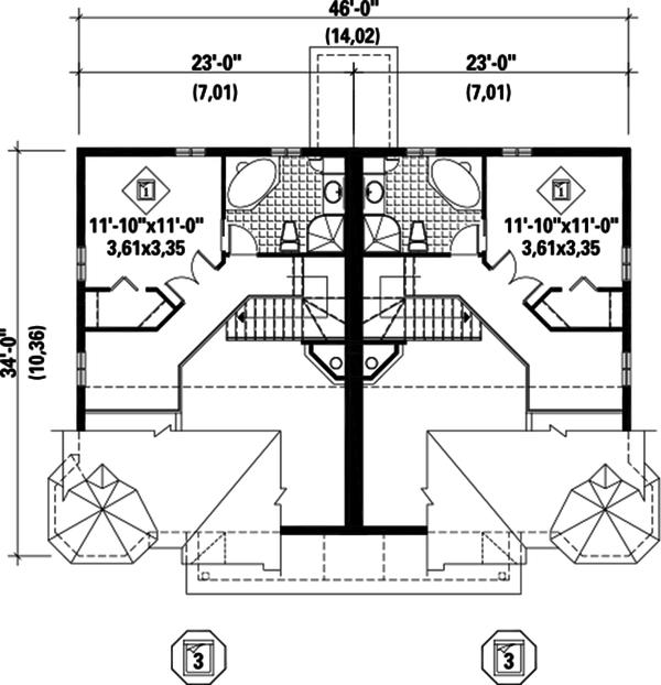 Traditional Floor Plan - Upper Floor Plan Plan #25-4515