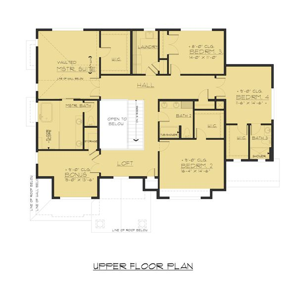 Traditional Floor Plan - Upper Floor Plan Plan #1066-52