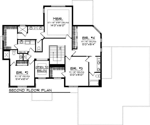 Craftsman Floor Plan - Upper Floor Plan Plan #70-1062