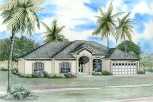 Mediterranean Exterior - Front Elevation Plan #17-1134