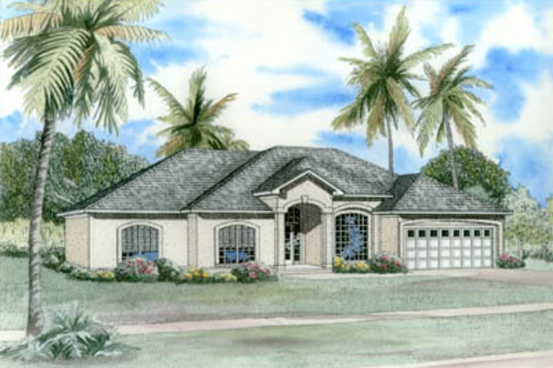 Mediterranean Style House Plan - 4 Beds 2.5 Baths 2388 Sq/Ft Plan #17-1134 Exterior - Front Elevation