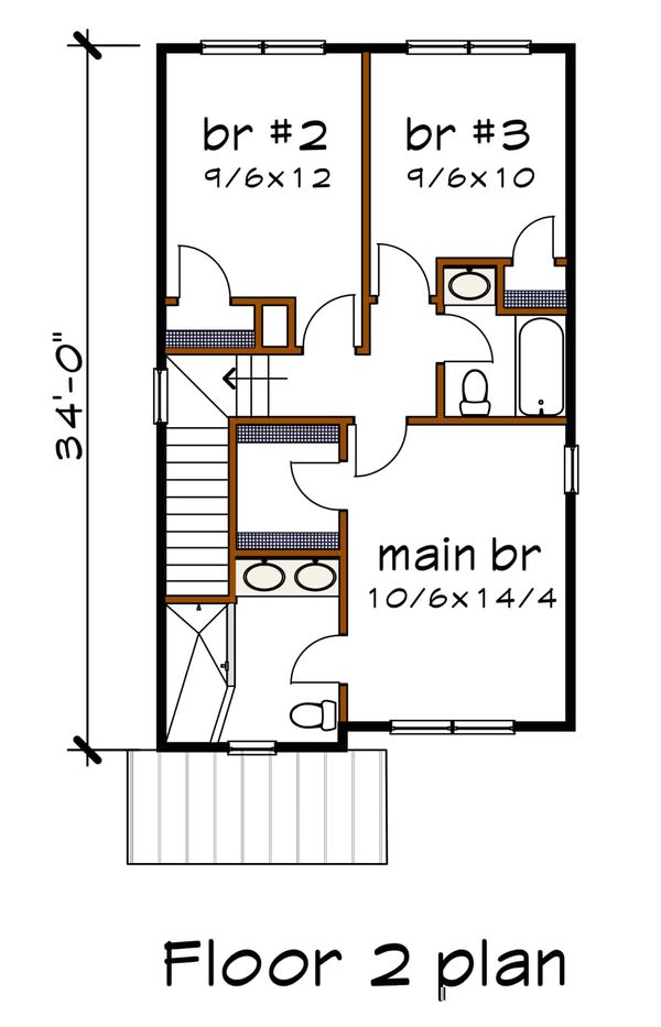 Modern Floor Plan - Upper Floor Plan #79-291