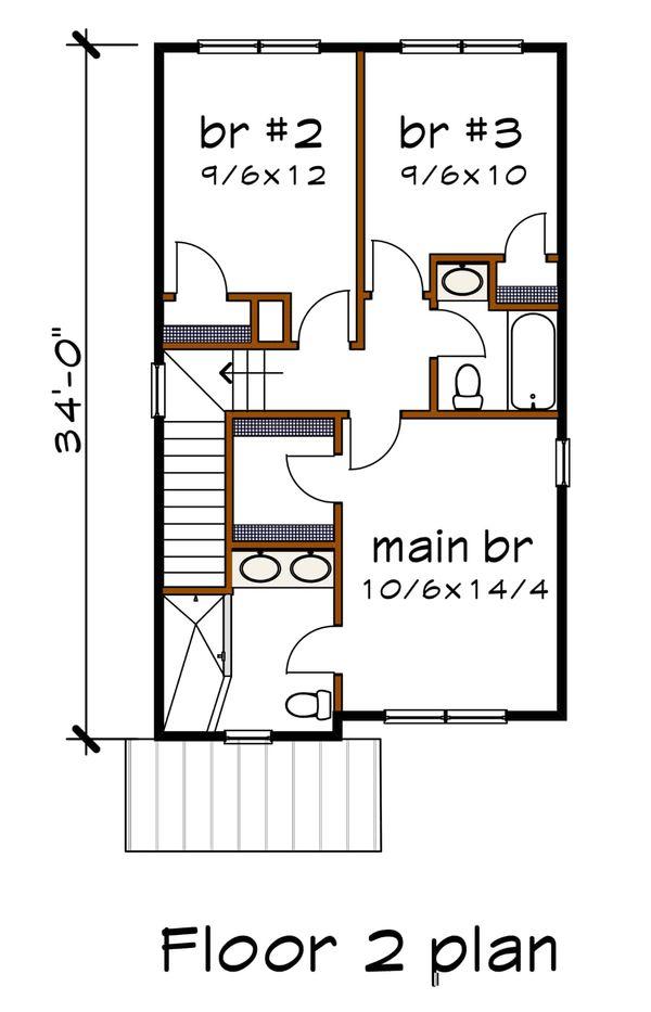 Modern Floor Plan - Upper Floor Plan Plan #79-291