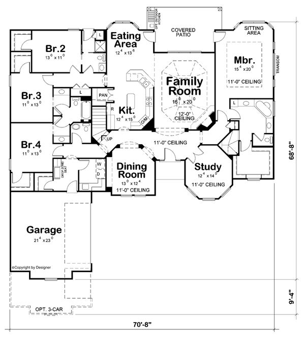 Home Plan - Mediterranean Floor Plan - Main Floor Plan #20-2443