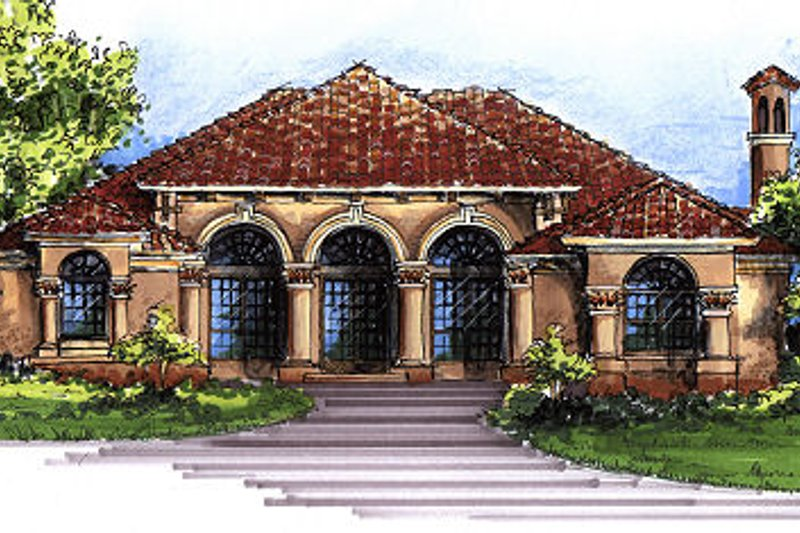 Mediterranean Style House Plan - 4 Beds 3 Baths 2674 Sq/Ft Plan #417-309 Exterior - Front Elevation