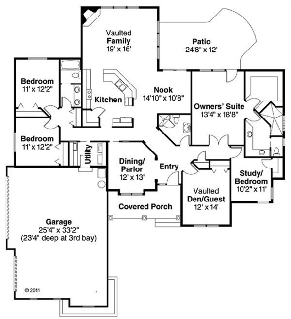 European Floor Plan - Main Floor Plan Plan #124-514