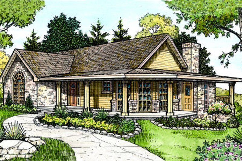 Country Style House Plan - 3 Beds 2 Baths 1963 Sq/Ft Plan #140-116 Exterior - Front Elevation