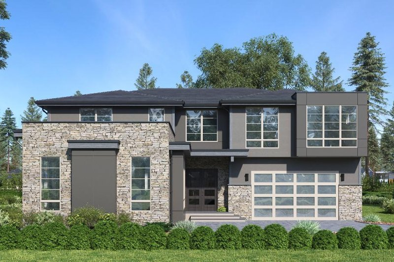 Modern Style House Plan - 5 Beds 4.5 Baths 3886 Sq/Ft Plan #1066-87 Exterior - Front Elevation